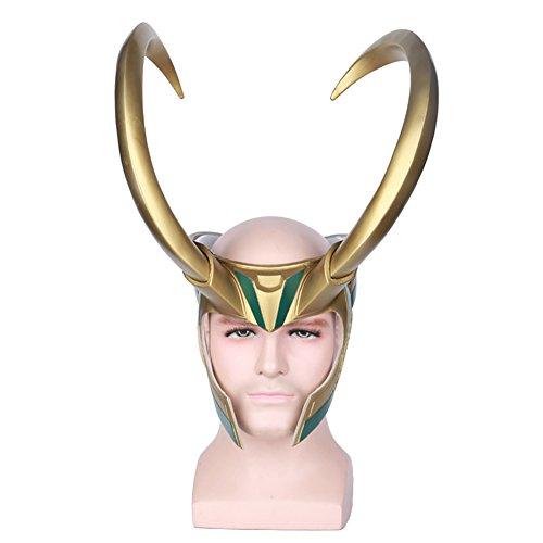 Halloween Loki Cosplay PVC Mask Half Face Golden Giant Horns Helmet - Loki Laufeyson Costume