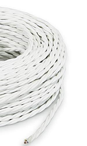 Secci/ón 2/X 0.75 Cable el/éctrico trenzado//Hilo trenzado revestido de tela Color Blanco