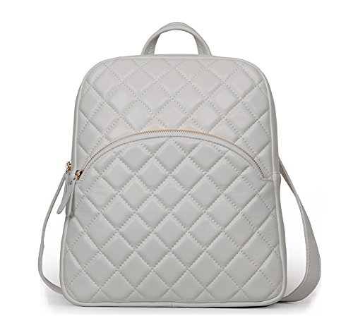 Ainifeel Women's Quilted Genuine Leather Backpack Casual Handbags Purse (Beige) by Ainifeel Quilted&Chain Strap Collection