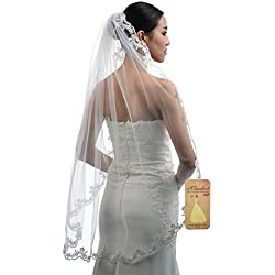 Topwedding Fingertip Length 1 Tier Light Ivory Bridal Wedding Veil with Lace Hem and Comb