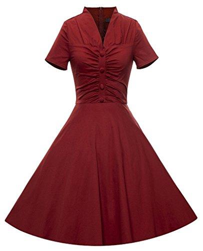 Eyekepper Vestidos de oscilación del cóctel corta para mujer de la vendimia de la manga del cuello de V Vino rojo