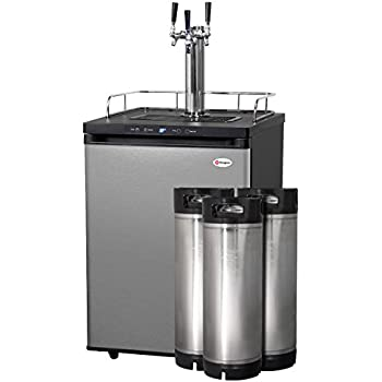 Kegco HBK309S-3K Full-Size Digital Homebrew Kegerator Triple Faucet Stainless with Ball Lock Kegs