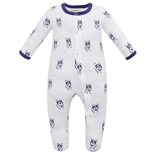 Owlivia Unisex-Baby Organic Button Cotton Sleep N Play Pajamas, Long Sleeve Footed Overall, Boys Girls' Sleeper (0-3 Months, Violet - Sleeper Dog