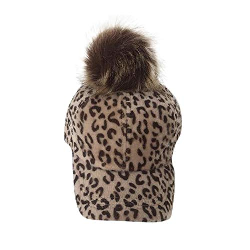 Jacket for Baby Girl,Fashion Autumn and Winter Parent-Child Hat Leopard Velvet Cap,Ground Coffee,Khaki,One Size
