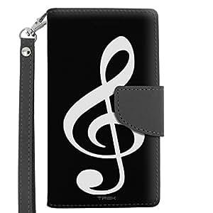 Motorola Moto E LTE Wallet Case - Silhouette Treble Clef Musician on Black