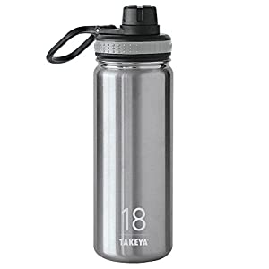 Takeya Originals Insulated Stainless Steel Water Bottle, 18 oz, Steel
