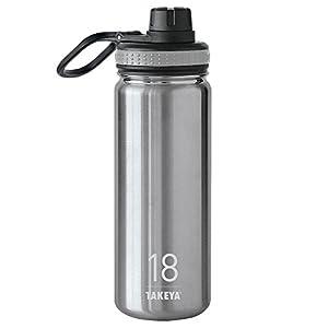 Takeya Originals Insulated Stainless Steel Water Bottle, 18 oz, Steel