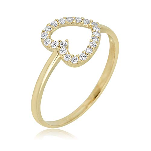 (AVORA 10K Yellow Gold Simulated Diamond CZ Large Open Heart Ring)