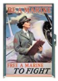 MARINE RECRUITING POSTER WORLD WAR II ID Holder, Cigarette Case or Wallet