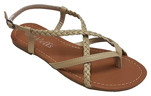 (Elegant Women's Fashion Braided Criss Cross Straps Beige Color Gladiator Flat Sandals Beige 8, M US)