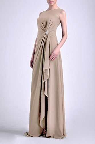 Adorona Bateau Sheath Long Chiffon Women's Natrual Straps Dress Sleeveless Champagne faf6r