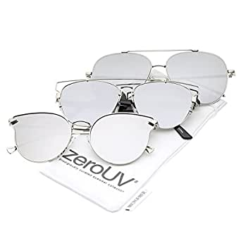 zeroUV - Women's Metal Frame Arrow Temples Colored Mirror Flat Lens Cat Eye Sunglasses 58mm (3-Pack | Metal Silver Mirr)