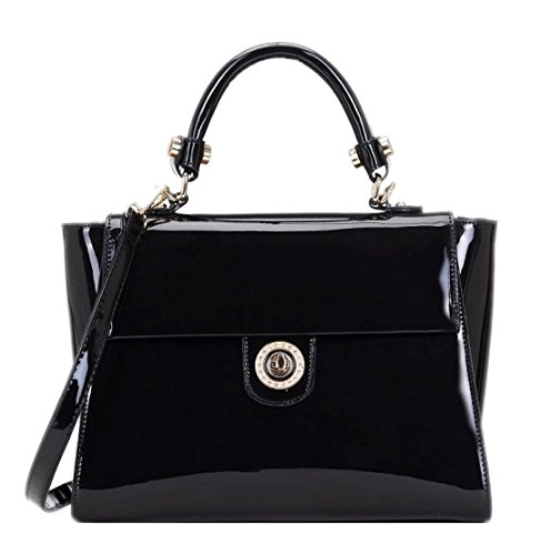 Girly HandBags Women's Patent Turn Twist Handbag -- Black