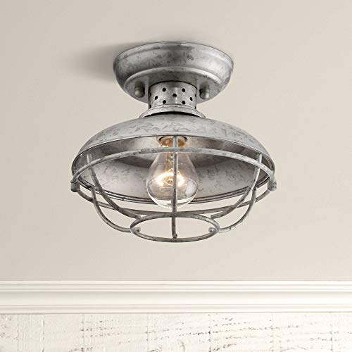 Franklin Park Rustic Farmhouse Outdoor Ceiling Light Fixture Galvanized Steel Open Cage 8 1/2 Damp Rated for Exterior House Barn Porch Patio Deck - Franklin Iron Works