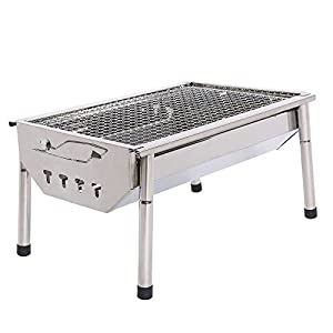 UTOKIA Portable Charcoal Grill with 4 detachable legs, Outdoor Stainless Steel Folding Picnic BBQ Grill by UTOKIA