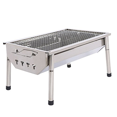 Silver Trailer Bbq Giant (UTOKIA Portable Charcoal Grill with 4 Detachable Legs, Outdoor Stainless Steel Folding Picnic BBQ Grill)
