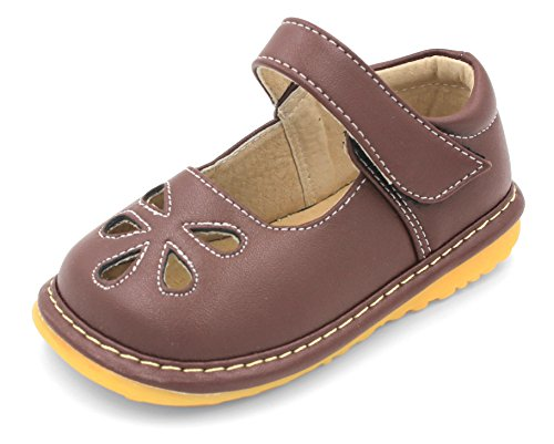 Little Mae's Boutique Toddler Shoes | Squeaky Brown Flower Punch Mary Jane Toddler Girl Shoes (8) ()
