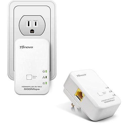 7INOVA AV500 Mini Ethernet Powerline Adapter Kit, Plug&Play Network Bridge ()
