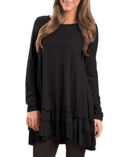 Womens Pleated Loose Casual Ruffle Hem Plain Shirt Flowy Cotton Long Sleeve A Line Tunic Tops Black XL (Ruffle Bottom Tunic)