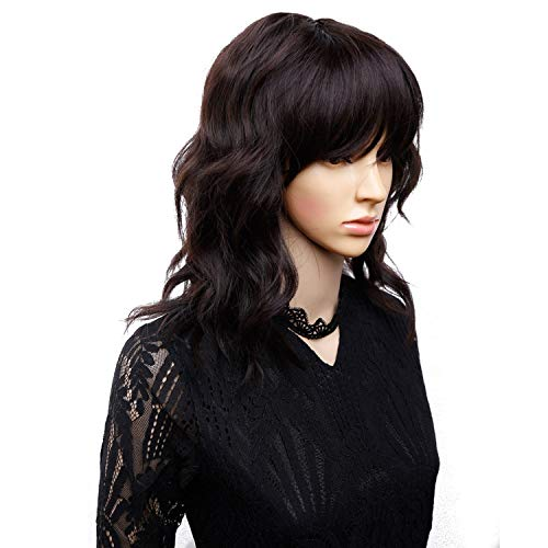 Amir Synthetic Hair Wigs Black Full Wig Flapper Hairstyles for Women Finger Wavy Wigs Short Brown Wig,#4,14inches]()