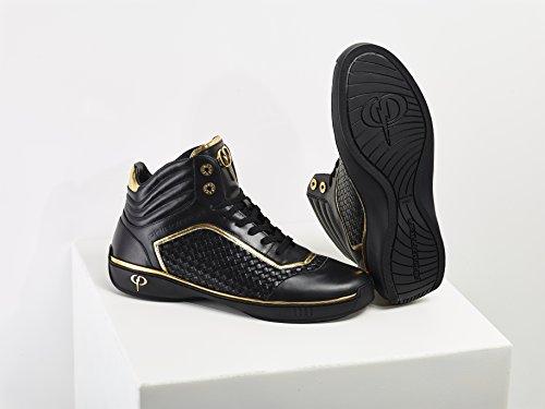 PHINOMEN Luxus Sneaker - Echtleder - Handarbeit made in italy Black/Gold High Top
