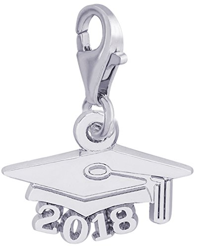 Rembrandt Charms, 2018 Graduation Cap with Clasp, .925 Sterling (University Graduation Charm)