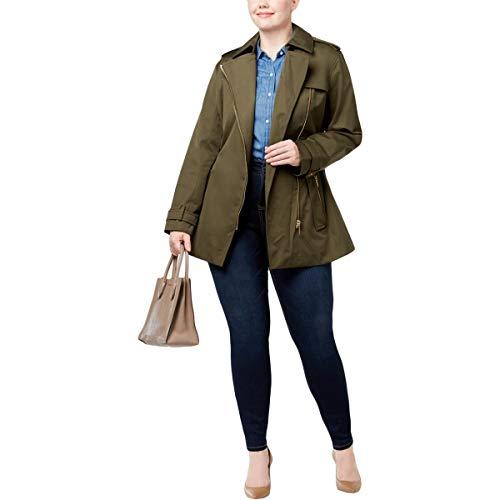 Michael Trench Kors - Michael Michael Kors Womens Plus Fall Rain Trench Coat Green 2X