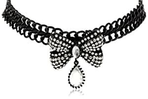 """Betsey Johnson """"Iconic Jet Setters"""" Bow and Gem Choker Necklace, 16"""""""