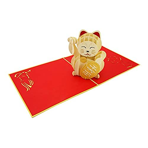 Japanese birthday greeting cards amazon poplife maneki neko lucky cat pop up greeting card traditional japanese wealth decoration welcoming calico folds flat for mailing birthday get well m4hsunfo