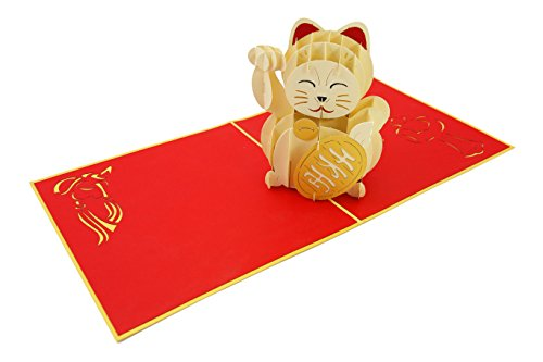 PopLife Maneki-Neko Lucky Cat Pop Up Card, 3D Card for All Occasions - Welcome Display