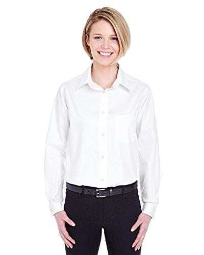 (UltraClub Women's Wrinkle Free Pinpoint Performance Dress Shirt, White, XX-Large)