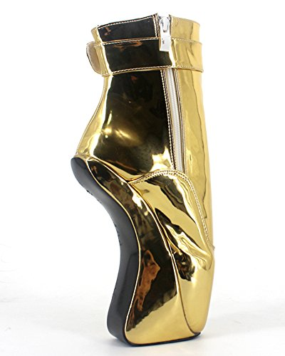 "Wonderheel 7"" heelless sexy fétiche padlocks bottes cheville verni or ballet chaussures femme"