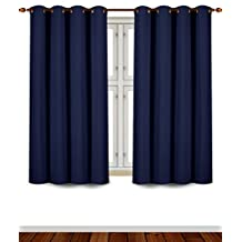 Blackout Room Darkening Curtains Window Panel Drapes - (Navy Blue Color) 2 Panel Set - 52 inch wide by 63 inch long each panel - 8 Grommets / Rings per panel - 2 Tie Back included- By Utopia Bedding