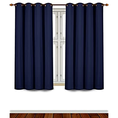 Blackout, Room Darkening Curtains Window Panel Drapes - (Navy Blue Color) 2 Panel Set, 52 inch wide by 63 inch long each panel, 8 Grommets / Rings per panel, 2 Tie Back included- by Utopia Bedding