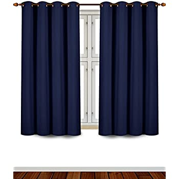 This Item Utopia Bedding Grommet Top Thermal Insulated Blackout Curtains, 2  Panels, 52 X 63 Inch, Navy  Short Blackout Curtains