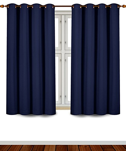 Utopia Bedding - Blackout Room Darkening and Thermal Insulating Window Curtains / Panels / Drapes - 2 Panels Set - 8 Grommets per Panel - 2 Tie Back Included (Navy, 52x63 with Grommets) (Sets Bedding For Black Furniture)
