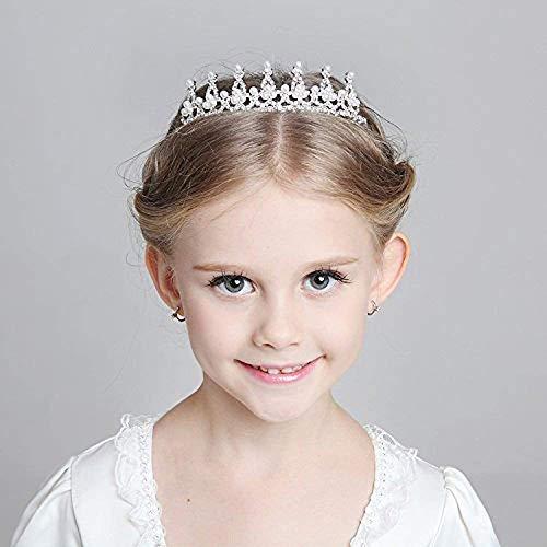 (SudaTek Child Crystal Tiara Crown for Flower Girls, Pearl Princess Costume Crown)