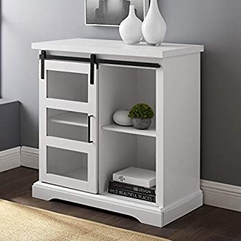 Image of Home and Kitchen Walker Edison Furniture Company Modern Farmhouse Buffet Entryway Bar Cabinet Storage Entry Table Living Room, 32 Inch, White