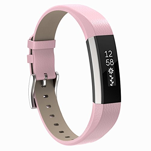 Pink Leather Band (Fitbit Alta HR and Alta Bands, Henoda Pink Classic Genuine Leather Replacement Wristband for Fitbit Alta Fitness Strap Smartwatch)