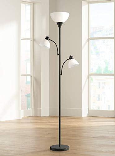 Bingham Modern Torchiere Floor Lamp 3-Light Tree Black Metal White Shade