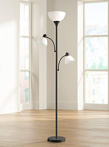 Lamp Floor Metal Weeks - Bingham Modern Torchiere Floor Lamp 3-Light Tree Black Metal White Shades for Living Room Reading Bedroom Office Uplight - 360 Lighting