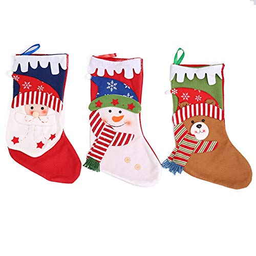 HORHIN 3 PCS Lovely Christmas Fireplace Stockings Santa, Snowman, Reindeer,Xmas Character Plush Linen Hanging Tag Knit Border,18