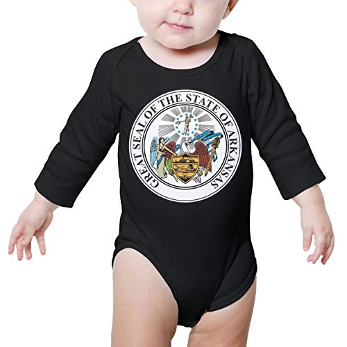 PoPBelle AR State Seal Baby Onesies Black Clothes Bodysuits Long Sleeve Neutral Cotton Funny