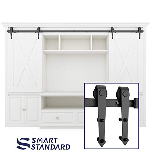 8ft Double Door Cabinet Barn Door Hardware Kit- Mini Sliding Door Hardware - for Cabinet TV Stand - Simple and Easy to Install - Fit 32