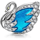 """NinaQueen """"Swan Princess"""" 925 Sterling Silver Lake Blue Hand-made Charms"""