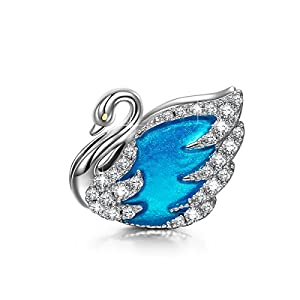"NINAQUEEN ""Swan Princess 925 Sterling Silver Lake Blue Enamel Hand Made Charms Fit for Necklace & Bracelets"