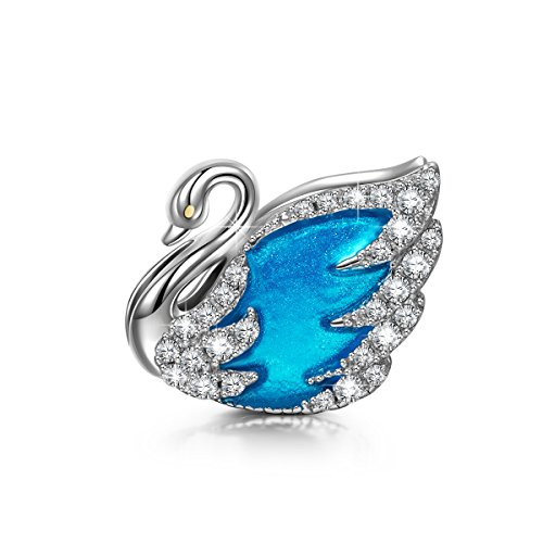 NINAQUEEN Swan Princess 925 Sterling Silver Lake Blue Enamel Hand made Charms Fit for Necklace & Bracelets