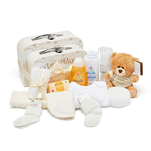 Baby Box Shop - Baby Shower Hamper for a New Baby with Newborn Essentials, Teddy Bear and 2 Cream Keepsake Boxes