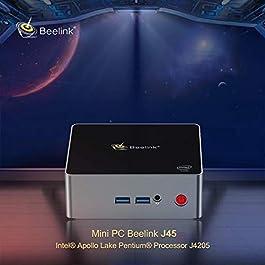 """Mini PC Windows 10, Beelink J45 Intel Apollo Lake J4205 Processor 8GB/128GB M.2 SSD, Supports 2.5"""" HDD & SSD/4K/Dual…"""