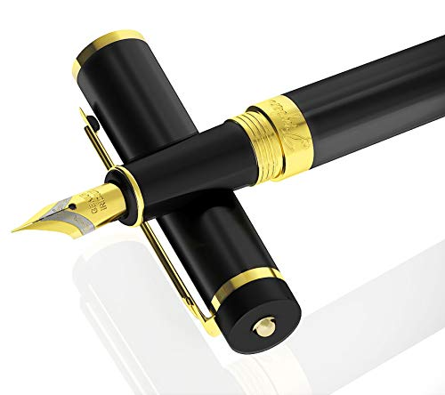 DRYDEN Luxury Fountain Pen [INTENSE BLACK] - BEST Fountain Pens Gift Set - Smooth Elegant Writing - Calligraphy - FREE Ink Refill Converter (Old Pens)